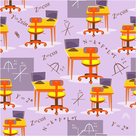 Seamless pattern of a working desk Illustration