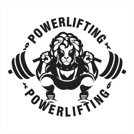 Vector black and white illustration of a power lifter character