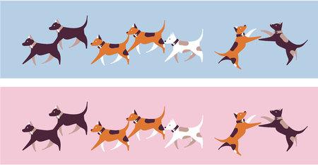 Vector illustration set of dogs jumping and running around Illustration