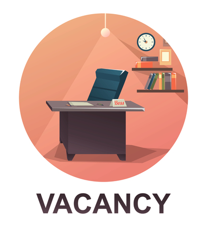 Vector round icon for work vacancy concept Illustration