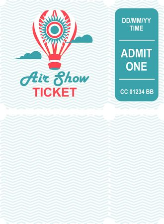 A Vector illustration of a ticket countermark to visit an aviation festival festival show with a detachable coupon