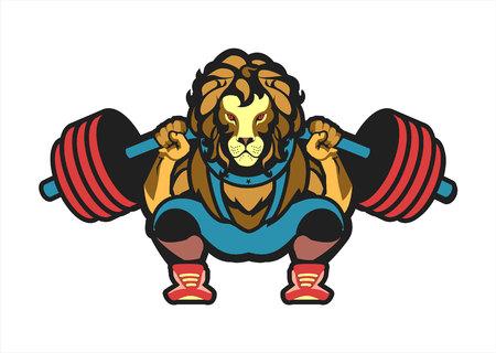 Illustration of a power lifting squat