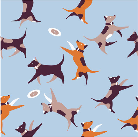 vector illustration seamless pattern of dogs jumping running around playing for bamboo and textiles.