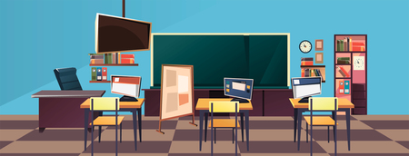 Modern flat illustration of empty school classroom. Classroom interior. Meeting room