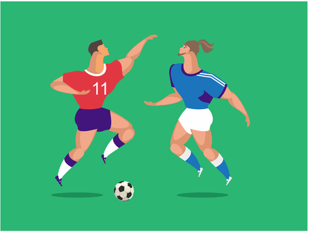 A vertical vector illustration two athletes ball game soccer players football game Illustration