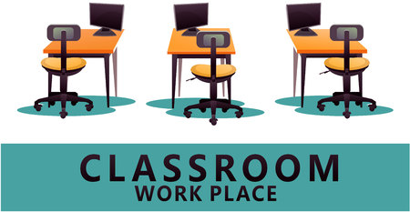 A Vector illustration of three in a row working computer desk, workplace concept, white design background, isolated Illustration
