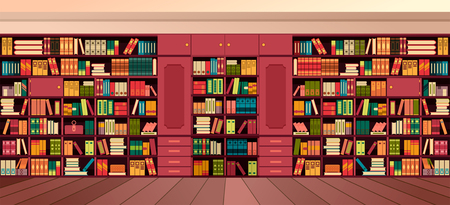 Vector illustration library shelves bookshelves library flat style.