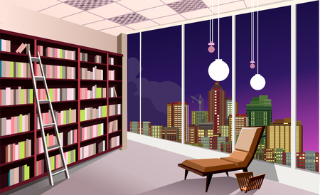 Vector illustration of a shelving bookshelf on the wall in the great hall in the library of the panoramic window at the city skyline night.