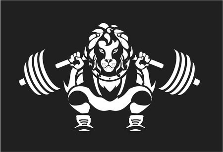 Illustration of a power lifting squat with the bar character Leo in sports equipment on a black background the competition emblem sport club.