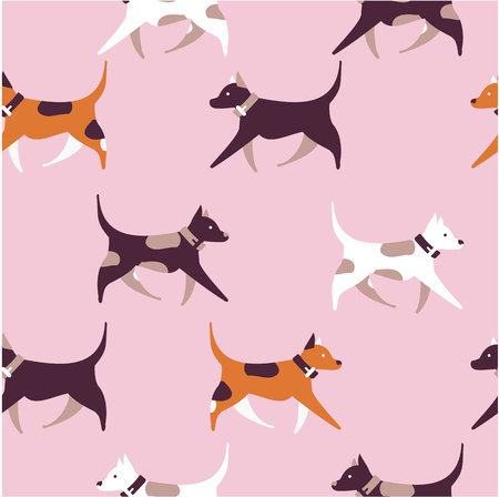 Illustration seamless pattern of dogs jumping running around playing for bamboo and textiles.