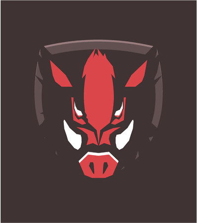 Illustration of the wild boar emblem of the emblem of the club mascot sports team.