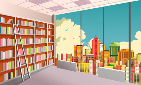 Illustration of a shelving bookshelf on the wall in the great hall in the library of the panoramic window at the city skyline.