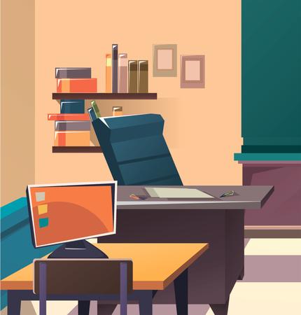 Modern flat illustration. Education background. Empty school classroom. Classroom interior.