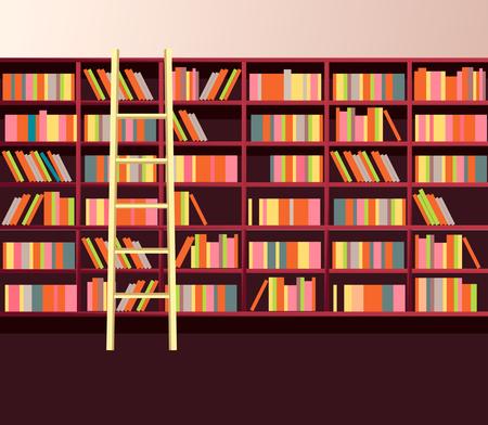 Illustration library shelves bookshelves library flat style.