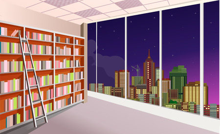 vector illustration of a shelving bookshelf on the wall in the great hall in the library of the panoramic window at the city skyline night Vettoriali