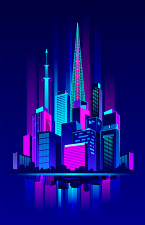 Vector illustration of a night neon city in an abstract style on a dark glow background