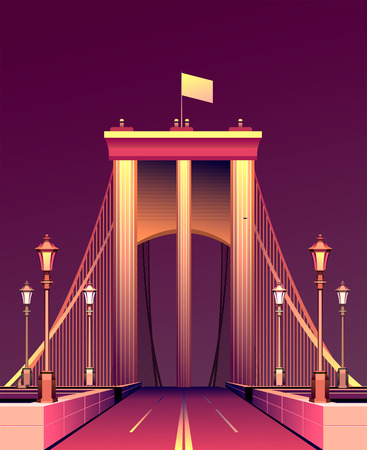 Vector illustration of a night glowing bridge a pink neon road leaving deep into the sky