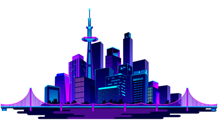 Vector illustration of a night glowing neon silhouette of a city near a river isolated on a white background