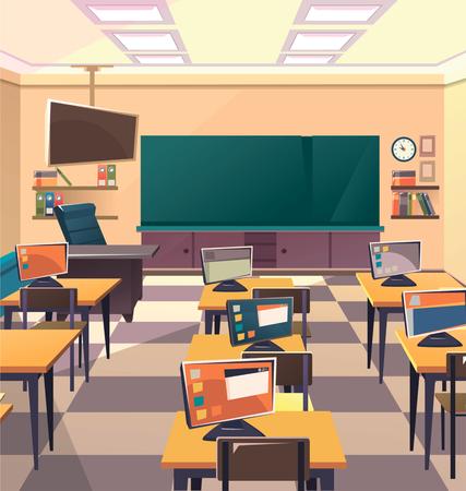 Modern flat illustration. Education background. Empty school classroom. Classroom interior. Meeting room Illustration