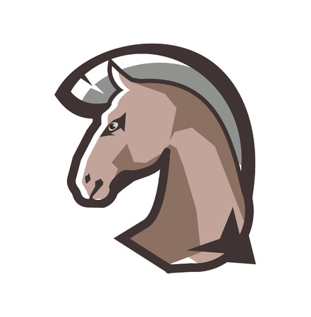 Vector illustration of a horse head animal emblem on a white background.