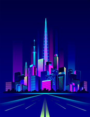 Vector illustration of a concept road leaving in the distance to the night city glowing neon light.