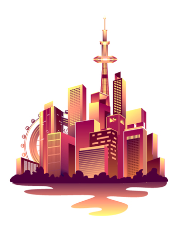 Vector illustration of a nightly abstract glowing city with multi-storyed houses banners on a white background.