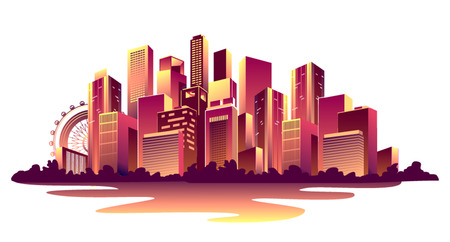 Vector illustration of a nightly abstract glowing city with multi- stored houses banners on a white background.