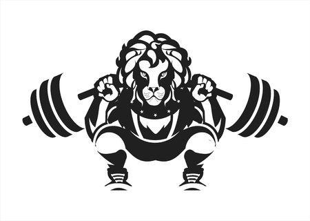 vector black and white illustration of a powerlifting squat with the bar character Leo in sports outfit on white background isolated black and white emblem logo sport club.