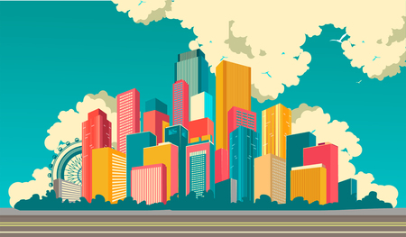 Vector illustration cityscape multicolored high-rise houses megacity cityscapes road