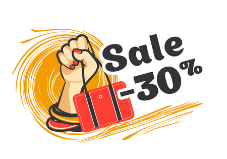 vector illustration poster advertising sale in a female store hand in decorations with a handbag