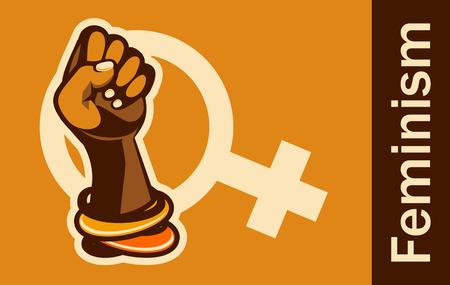 Feminism concept female power. female power, great design for any purposes. Women power. Female fist.