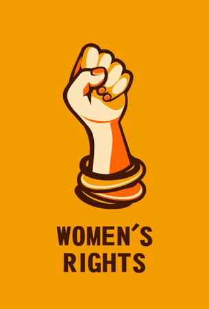 Feminism concept female power with fist on yellow background. Vector illustration.