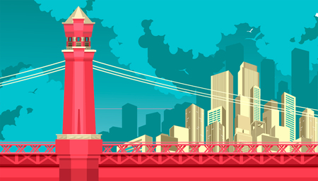 Vector illustration of abstract city metropolis bridge over the river or canal.
