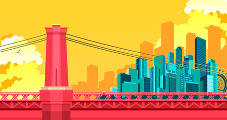 vector illustration of abstract city metropolis bridge over the river or canal Illustration