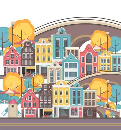 vector illustration seamless pattern repeats horizontally at home bridge city amsterdam