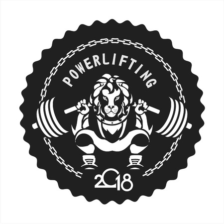 Powerlifting barbell squat on black circle with zigzag sides. Illustration
