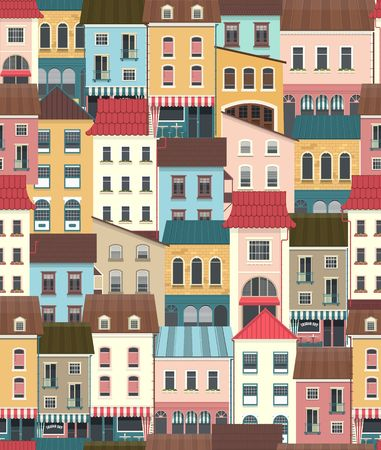 Seamless city pattern of houses and buildings.