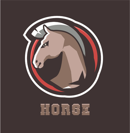 Vector illustration of a horse head animal emblem on a white background