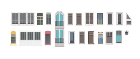 vector illustration set of isolated windows of different shapes Illustration