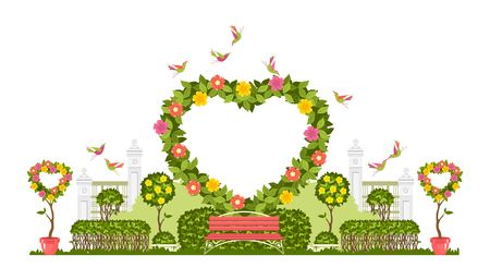 Wedding arch on a white background of plant elements and flowers, park beautiful figures of topiary for a wedding ceremony in the shape of a heart 版權商用圖片 - 100874940