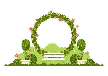 Wedding arch on a white background of plant elements and flowers, park beautiful figures of topiary for a wedding ceremony in the form of a circle Ilustrace