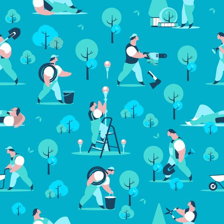 vector seamless pattern gardeners garden work, help different poses Illustration