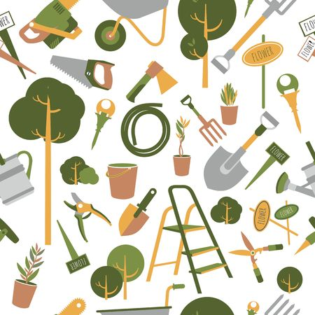 vector seamless pattern simple garden tools flat style
