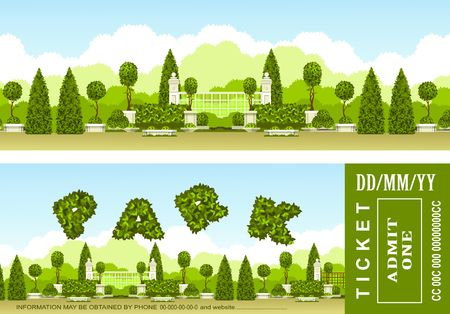 vector illustration of a ticket to relax in the park or garden two sides Illustration
