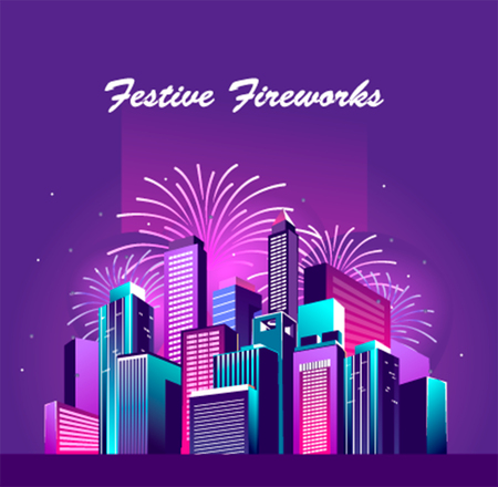Vector illustration of a night glowing neon city a multi-storey group of buildings in a bright glow of festive fireworks