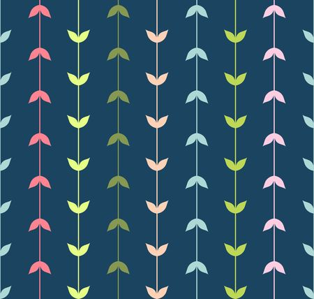 Vector seamless pattern of multi-colored strips of simple leaves.