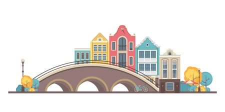 vector illustration city buildings street near bridge city amsterdam on white background