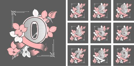 vector illustration collection of numbers gothic style on black background figures decorated with roses flowers and leaves Illustration