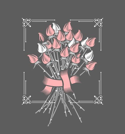 vector illustration of a bouquet of roses on a black background in a frame Illustration