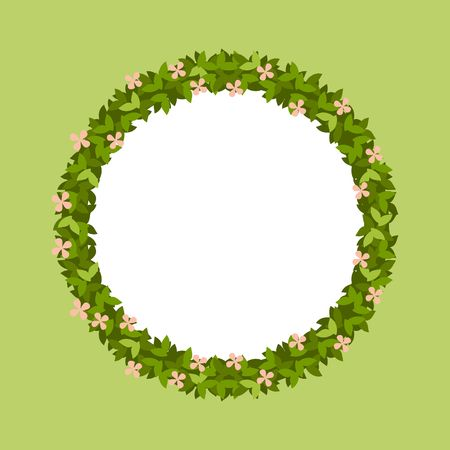 vector illustration round frame of green leaves Illustration